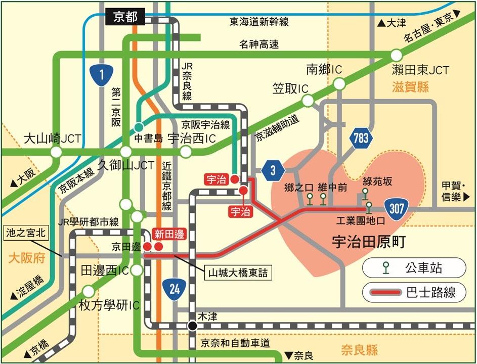 前往宇治田原町的交通路線